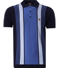 gabicci vintage 1973 searle knitted polo shirt | navy | v46gm00-nvy
