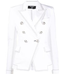 balmain structured shoulders blazer - white
