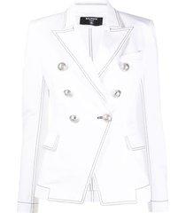 balmain structured shoulders blazer - white