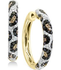 effy multi-color diamond hoop earrings (1-1/4 ct. t.w.) in 14k gold