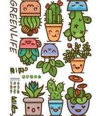 patrón de plantas verdes de pvc extraíble wall sticker salón de arte d