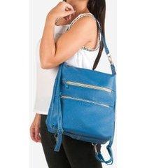 mochila aliança de couro com alça transpassada - azul u