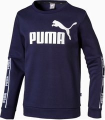 amplified crew neck boys' long sleeve sweater, blauw, maat 128 | puma