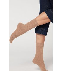 calzedonia short ribbed socks with wool and cashmere woman brown size tu