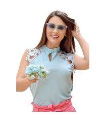 blusa butiq regata social com renda e botões azul claro