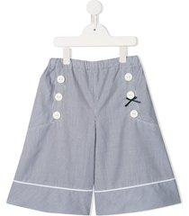 familiar striped wide-leg shorts - blue