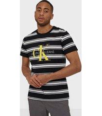 calvin klein jeans monogram stripe reg tee t-shirts & linnen black/white