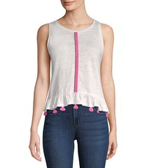 ruby brocade-trim linen tank top