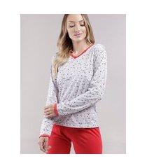 pijama longo feminino vermelho/cinza