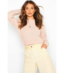 fisherman crew neck sweater, blush