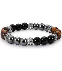 bracciale perline da donna vintage con occhio di tigre vintage in rilievo perline in pietra naturale per uomo donna