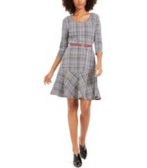 ny collection petite plaid fit & flare dress