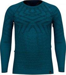 odlo ondershirt men suw top crew neck l/s natural + kinship blue coral melange-m