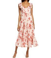 women's chelsea28 ruffle midi dress, size small - pink
