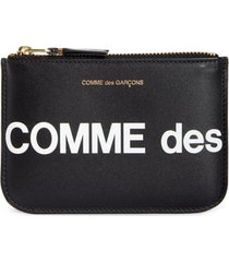 comme des garcons huge logo small zip pouch - black
