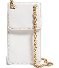 house of want vegan leather phone crossbody bag - white
