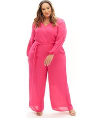 lane bryant women's beauticurve belted ankle jumpsuit 16 magenta