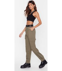 womens we cargo for long belted high-waisted pants - khaki