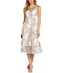 adrianna papell embroidered-floral a-line dress