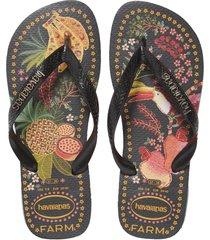 women's havaianas farm rio tropical print flip flop, size 5/6 m - black