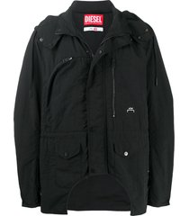 a-cold-wall* x diesel red tag multi-pocket hooded jacket - black