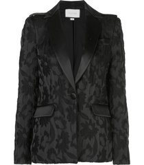 alexis floral-embroidered blazer - black