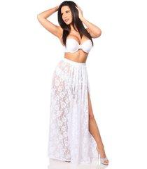 elegant sheer lace skirt with elastic waistband and hook & eye closure