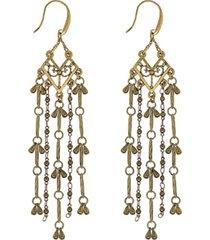 t.r.u. by 1928 matte 14 k gold dipped tassel linear earring