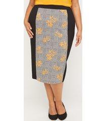 black label floral houndstooth skirt