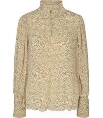 gesmokte blouse met bloemenprint amelia  beige