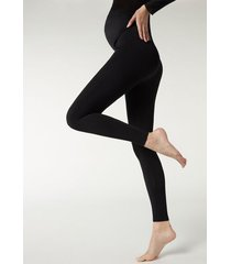 calzedonia opaque maternity footless tights woman black size 3/4