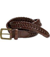 braided latigo leather belt, brown, 42