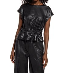 open edit faux leather cinch waist top, size x-small in black at nordstrom
