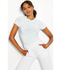 cap sleeve high neck tie dye rib top, pale blue