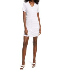 women's vero moda aria stripe short sleeve rib dress, size x-large - purple