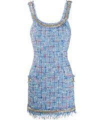 balmain tweed chain short dress - blue