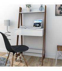 mesa escrivaninha urban 1 gaveta branco/castanho esc4001 - appunto