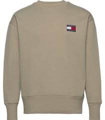 tjm tommy badge crew sweat-shirt trui groen tommy jeans