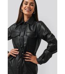 na-kd trend soft pu belted mini dress - black