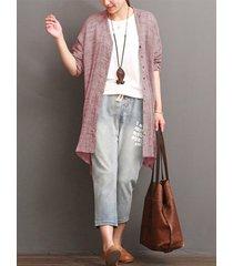 camicia casual a maniche lunghe con bottoni lunghi per le donne