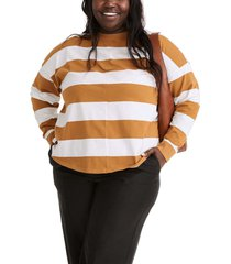 plus size women's madewell delancey stripe t-shirt, size 1x - brown