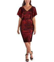 kensie cape-sleeve jacquard dress