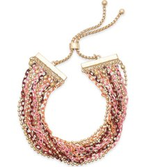 style & co multi-tone twisted strand bolo bracelet, created for macy's