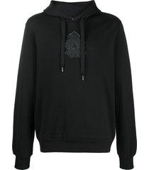 dolce & gabbana rubberised logo patch hoodie - black