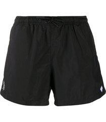 marcelo burlon county of milan logo embroidered swim shorts - black