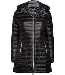 essential lt down coat gevoerde lange jas zwart calvin klein