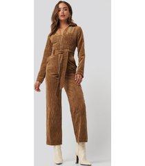 trendyol velvet jumpsuit - brown