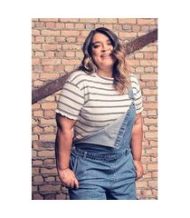 macacão jeans longo blue escuro gang plus size feminino
