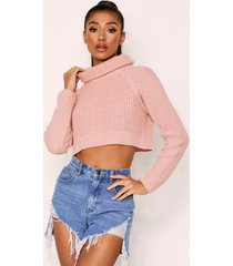 roll neck cropped sweater, blush