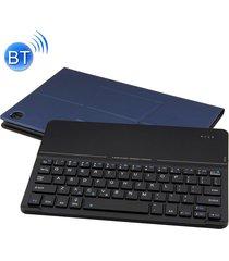 desmontable teclado bluetooth ultrafino de vidrio templado espejo magnético de cuero caso para huawei mediapad m5 10,8 pulgadas, con el titular (azul oscuro)
